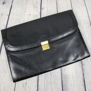 BUGATTI   leather lock & key portfolio file folder